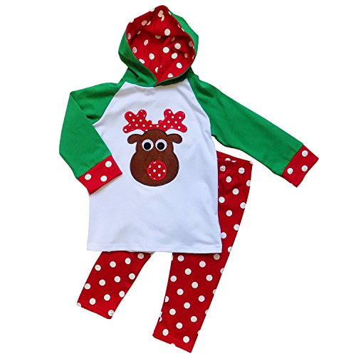So Sydney Toddler Girls 2 Pc Christmas Ruffle Pant Tunic Top Holiday Novelty Outfit (XS (2T), Rudolph Reindeer Hoodie) Christmas Outfits For Toddler Girls