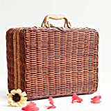 Natural Ratten Square Storage Baskets Boxes Hampers Case Organizer Durable Weaving Box Portable Handmade Useful(30x24x12cm)