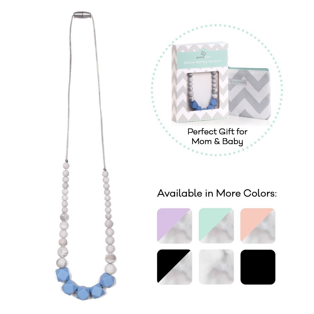 Goobie Baby Madison Silicone Teething Necklace for Mom to Wear, Safe BPA Free Beads to Chew - Light Blue/Marble