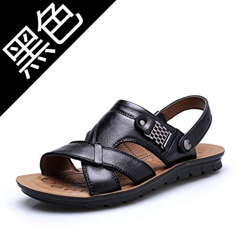 Xing Lin Sandalias De Verano Zapatillas De Cuero _ Hombre De Primera Capa De Sandalias De Cuero Sandalias De Gran Tamaño Zapatillas 13082 black