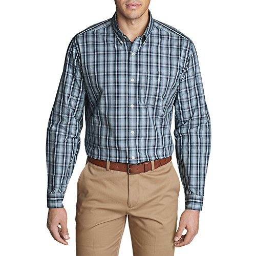 Eddie Bauer Men's Wrinkle-Free Relaxed Fit Pinpoint Oxford Shirt - Blues, Med - Pinpoint Shirt Dress Fit