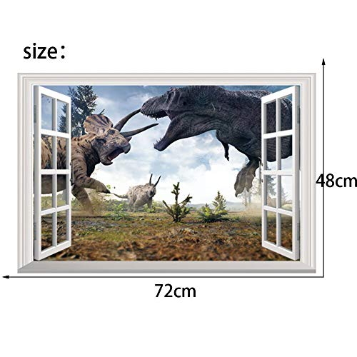 LJLQ Cartoon Movie 3D Vivid Dinosaur Wall Stickers for Kids Rooms Children's Wall Decals Jurassic World Home Decoration Mural Poster