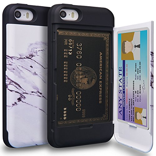 TORU CX PRO iPhone SE Wallet Case Pattern with Hidden ID Slot Credit Card Holder Hard Cover for Apple iPhone SE/iPhone 5S / iPhone 5 - Marble Stone