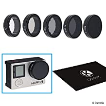 CamKix Cinematic Filter Pack for GoPro HERO 4 and 3+ Includes 4 Neutral Density Filters (ND2/ND4/ND8/ND16), a UV Filter and a Cleaning Cloth. Enhanced Footage at Lower Shutter Speeds in Bright Light.