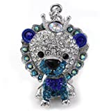 King Crown Cub Lion Keychain Animal Key Ring Charm Aurora Borealis Rhinestones