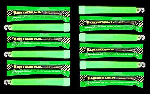 Lumistick 12 Industrial Strength Emergency SafetyStick Glow Sticks - 6' High Intensity 12 Hour Duration Chem Lights