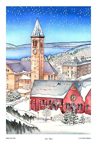 (Cornell University Art, Ithaca NY Cayuga Lake McGraw Tower Winter Snow Scene Watercolor Print 12 x18)