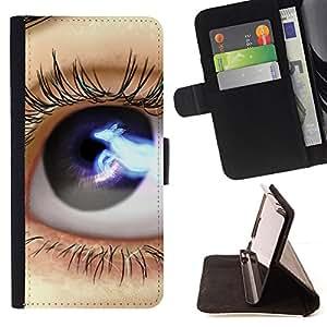 Jordan Colourful Shop - eye blue black space lashes close up For HTC DESIRE 816 - < Leather Case Absorci????n cubierta de la caja de alto impacto > -