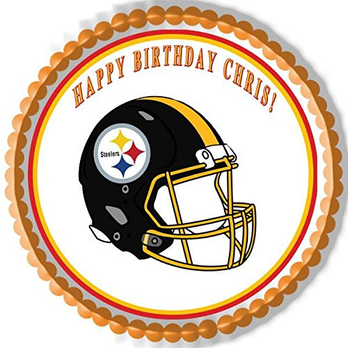 Pittsburgh Steelers Edible Cake OR Cupcake Topper - 7.5' round inches (Happy Birthday Steelers)