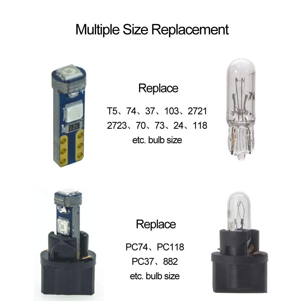DODOFUN Green T5 37 74 LED Bulb with Twist Lock Socket PC74 PC37 Dashboard Instrument Panel Gauge Cluster Light Pack of 10