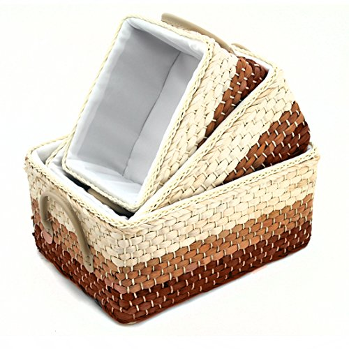 Storage Baskets Containers, Maize Bins Rectangular Boxes.Kingwillow (Mixed Colour, Set of 3)