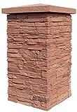 NextStone Slatestone 16'' x 16'' x 30'' Faux Polyurethane Stone Column Wrap - Arizona Red