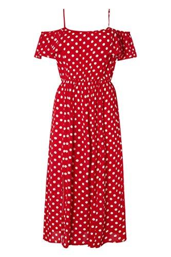 Motif Femme Dnuds Vintage Confortable Rouge Retro Pois Bohme Robe Fendu Roman Epaules Originals Rouge Lger Ete Printemps IXw65WqXRn