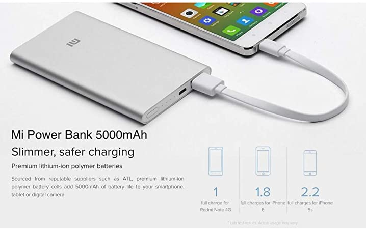 Xiaomi Mi Power Bank2 5000mAh Lithium Ion Polymer Battery 9.9mm Aluminum Case – Silver