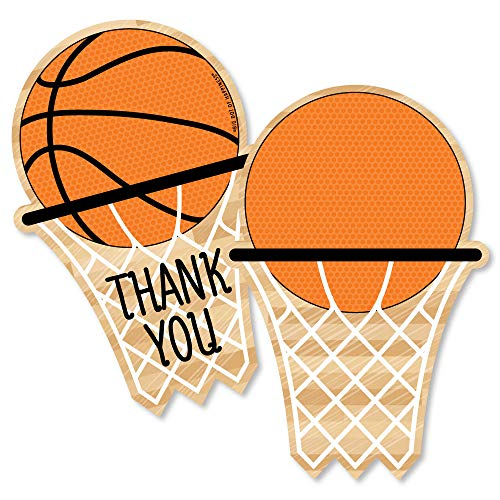 Nothin' But Net - Basketball - Shaped Thank You Cards - Baby Shower or Birthday Party Thank You Note Cards with Envelopes - Set of 12 - Net Premium Cards
