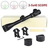 Twod 3-9x40mm Riflescope Red/Green Illuminated Handgun Scope with 1'' Tube + Scope Rings + Lens Cover