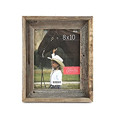 Green Tree Gallery Reclaimed Natural Barn Wood Picture Frame, for an 8 x 10 inch Photo