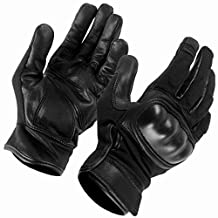 SecPro Superior Service Hard Knuckle Tactical Gloves Black Leather (Small)