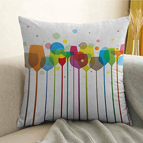 Winery Bedding Soft Pillowcase Colorful Wine Glasses Alcohol Drink Beverage Fizzy Champaigne Party Bar Art Design Hypoallergenic Pillowcase W16 x L24 Inch - Sonora Towel Bar