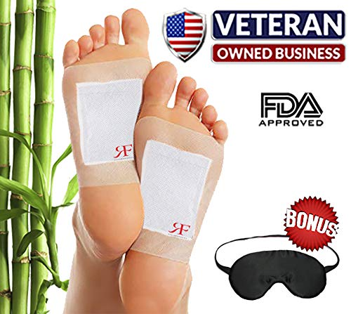 Bamboo Vinegar Foot Pads (10 Pack) & Bonus Silk Sleep Mask by RoCaFutures: Upgraded 2 in 1 All Natural & Premium Ingredients for Best Results | Night Time Pads, Soothing & Relaxing | Free eBook from RoCaFutures LLC