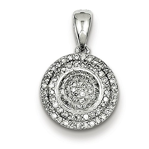 Argent Sterling diamant pendentif rond JewelryWeb