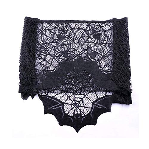 Zamango Halloween Decorations Black Lace Bats Fireplace Mantel Spiderweb Scarves Cover for Spooky Halloween Fireplace Decoration Prop Party Décor, 80inch X 20inch ()