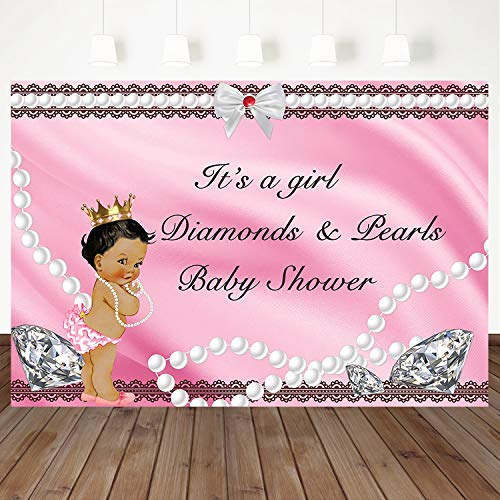 Mocsicka Diamond and Pearl Backdrop Pink Little Princess Birthday Party Baby Shower Party Background Bow-Knot Banner 7X5ft Vinyl Cake Table Decoration Photography Background