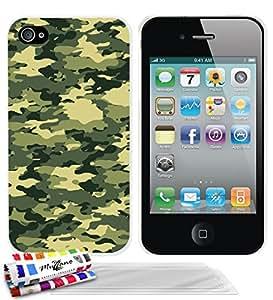 """Carcasa Rigida Ultra-Slim APPLE IPHONE 4 / IPHONE 4S de exclusivo motivo [Camuflaje verde] [Blanca] de MUZZANO  + 3 Pelliculas de Pantalla """"UltraClear"""" + ESTILETE y PAÑO MUZZANO REGALADOS - La Protección Antigolpes ULTIMA, ELEGANTE Y DURADERA para su APPLE IPHONE 4 / IPHONE 4S"""