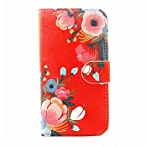 Cuitan High Quality PU leather Flip Cover Case for Samsung Galaxy S6 G9200, Card Slots and Stand Function Design Cell Phone Case Cover Shell Sleeve Wallet Case Protective Cover - Flower
