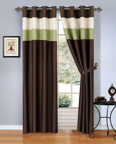 brown window curtains side by side windows modern sage greenbrownbeige faux silk taffeta grommet window curtaindrape set amazoncom
