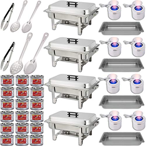 "Chafing Dish Buffet Set w/Fuel — Water Pans + Food Pans 8 qt + Frames + Lids + Fuel Holders + 18 Fuel Cans + Serving Utensils, 15"", 11"" Perforated Spoon + 15"", 11"" Solid Spoon + 9"" Tong — 4 Warmer Kit]()"
