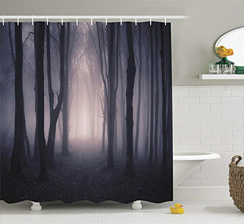 Afagahahs Farm House Decor Shower Curtain Path Through Dark Deep in Forest with Fog Halloween Creepy Twisted Branches Picture Fabric Bathroom with Hooks Pink and Brown]()