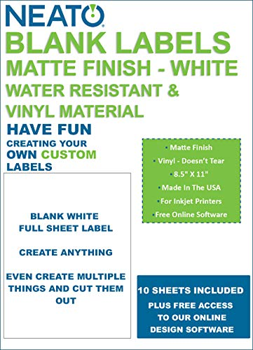 Neato Full Sheet Printable Labels - 10 Sheets - Matte Finish - Shipping Label - Water Resistant Vinyl Printable Sticker Paper