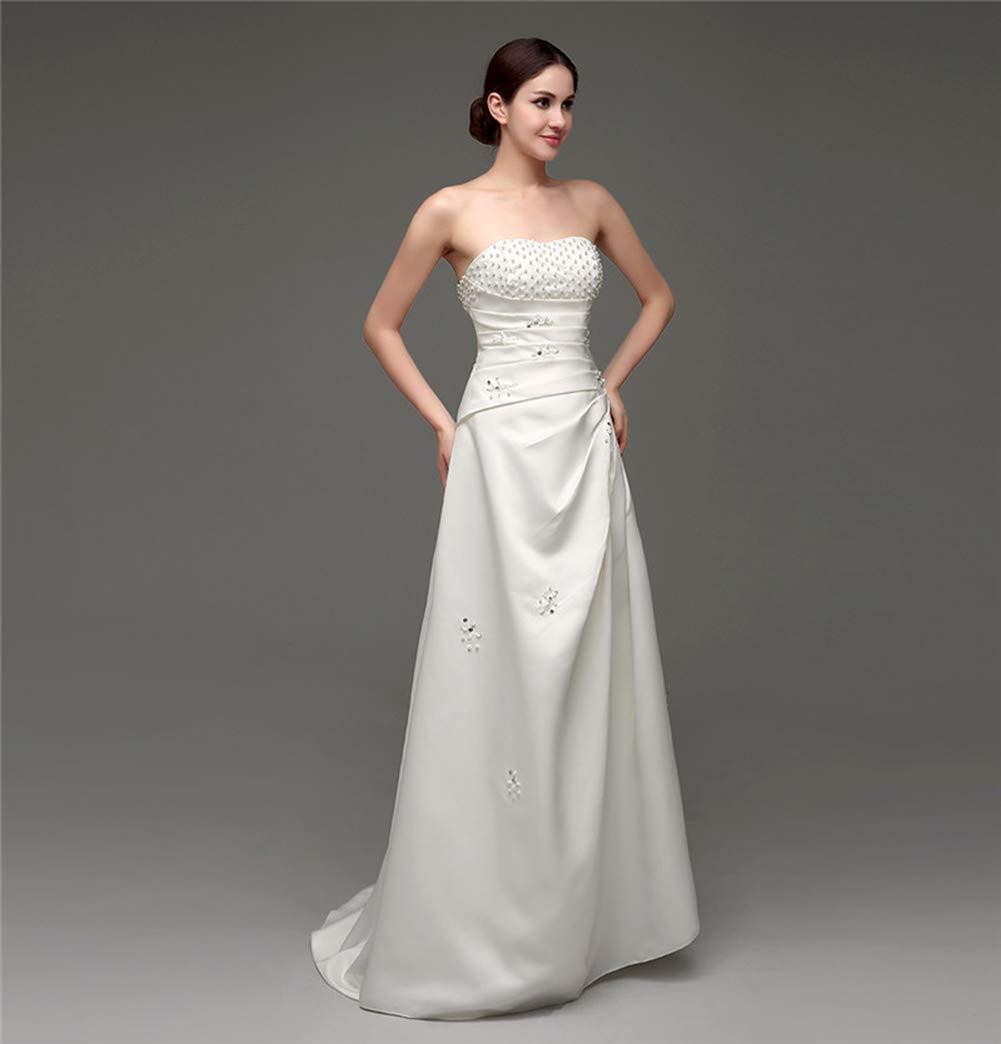 女性のウェディングレースVネックショルダーパフプリンセスウェディングドレスアダルトドレスイブニングドレス,US4 B07PZS7CW3 US12  US12