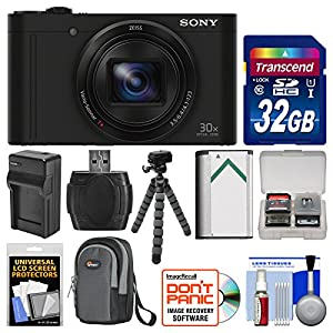 Sony Cyber-Shot DSC-WX500 Wi-Fi Digital Camera with 32GB Card + Case + Battery & Charger + Flex Tripod + Kit