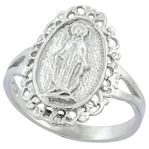Sterling Silver Virgin Mary Miraculous Medal Ring 11/16 inch wide, size 7