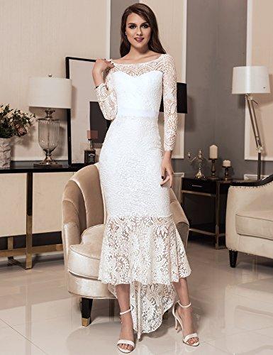 OHYEAH Robe Cocktail de Vintage Manches Blanc Femme Bateau Longues Dentelle Cou Floral Swing tqAwUptrn