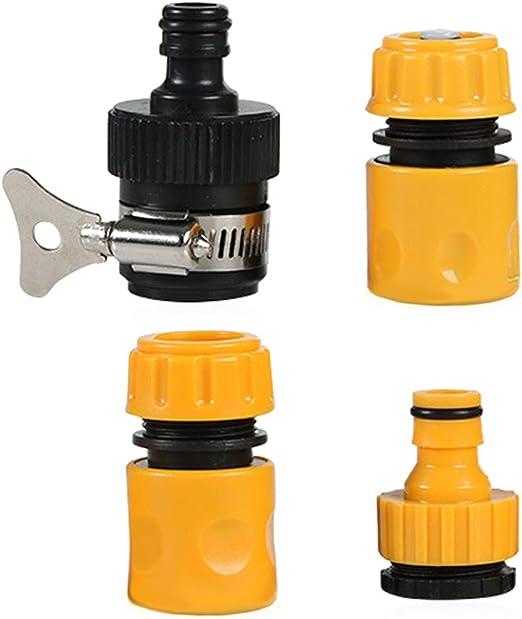 N\O 4 Piezas Juego de Conectores Manguera, Conectores de Manguera de Agua 3/4 Pulgadas y 1/2 Pulgada Plástico Adaptador de Grifo roscado Exterior Conector de Manguera: Amazon.es: Jardín