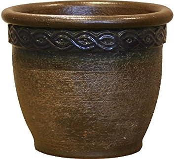 28/x 23/cm en c/éramique de gr/ès de qualit/é Marron//bleu K /& K Pot de Cl/éop/âtre