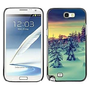 Qstar Arte & diseño plástico duro Fundas Cover Cubre Hard Case Cover para SAMSUNG Galaxy Note 2 II / N7100 ( Snow Winter Picea Trees Mountain Sky)