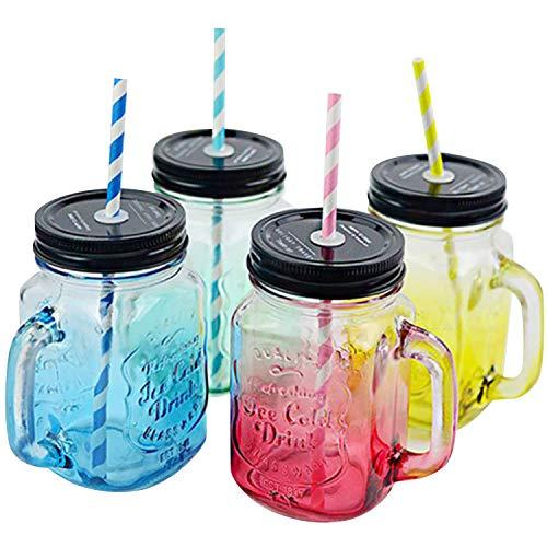 Tomixxx Mason Glass Jars 16oz (1 Pint) Regular Mouth Lids and Band Canning Jelly Jars Set of 4 ()