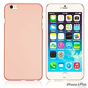 OnlineBestDigital - Comfortable Ultra Thin Solid Color Oil Coated Hard Case for Apple iPhone 6 Plus (5.5 inch) Smartphone - Pink with 3 Screen Protectors