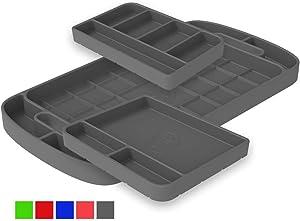 S&B Non-Slip Flexible Silicone Tool Tray | Tool Mat | Tool Organizer | Tool Holder (3pc Set, Charcoal, 80-1004)