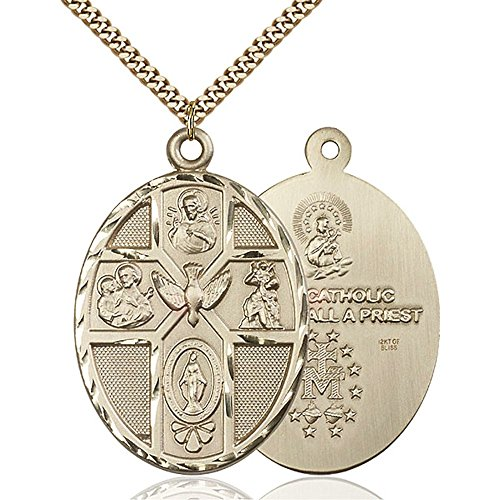 Gold Filled 5-Way / Holy Spirit Pendant 1 7/8 x 1 1/4 inches with Heavy Curb Chain by Unknown