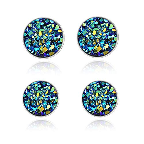 CERSLIMO Natural Healing Blue Round Druzy Earring 925 Sterling Silver