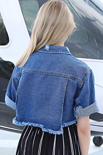Women Jacket Stile Giovane Fidanzato Blau Moda Eleganti Estiva Corto Jeans Bavero Giacche Giacca Denim Manica Casual Donna Asimmetrico Corta Autunno zax6UqS
