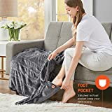 Microplush Electric Blanket with Foot Pocket Grey