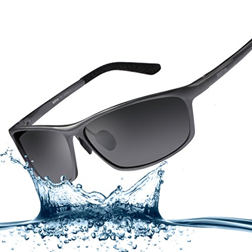 Bertha 2016 New Fashion Driving Polarized Sunglasses for Men Unbreakable-aluminum Frame 3230 Gun Frame with Black Lenses