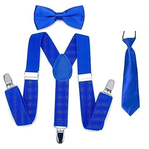 Kids Suspender Bowtie Necktie Sets - Adjustable Elastic Classic Accessory Sets for Boys & Girls (Royal - Kids Necktie