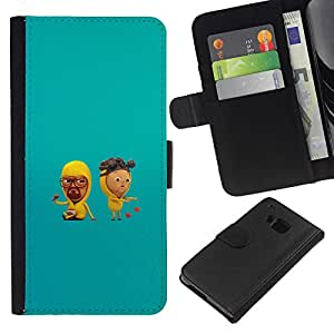 HTC One M9 - Dibujo PU billetera de cuero Funda Case Caso de la piel de la bolsa protectora Para (Cute Meth Cooks)